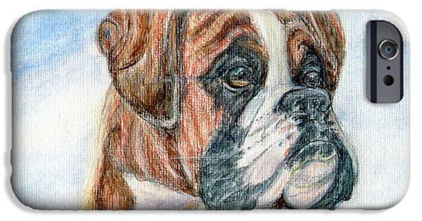 Bulls Pastels iPhone Cases - Canine Curiosity. iPhone Case by Madeline Moore