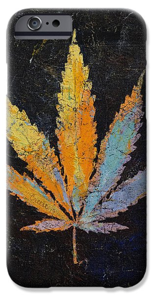 Michael Paintings iPhone Cases - Cannabis iPhone Case by Michael Creese