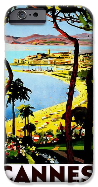 Fashion Design Art iPhone Cases - Cannes Vintage Travel Poster iPhone Case by Jon Neidert