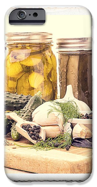Vinegar iPhone Cases - Canning Kitchen Art iPhone Case by Edward Fielding