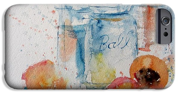 Water Jars Paintings iPhone Cases - Canning Peaches iPhone Case by Sandra Strohschein