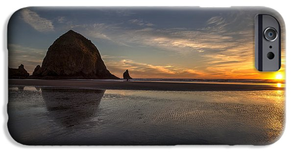 Seagull iPhone Cases - Cannon Beach Dusk Conclusion iPhone Case by Mike Reid