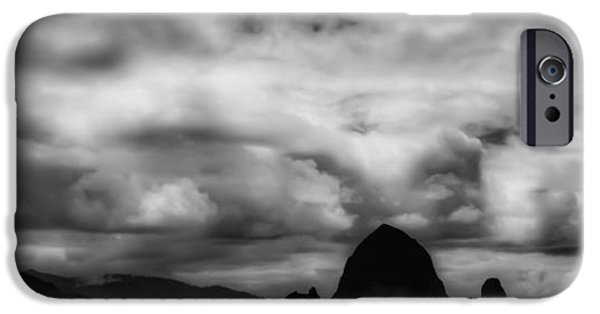 Monotone iPhone Cases - Cannon Beach Panorama II - The Oregon Coast iPhone Case by David Patterson