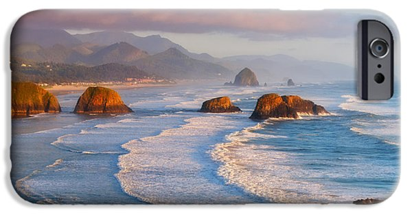 Pacific Ocean Prints iPhone Cases - Cannon Beach Sunset iPhone Case by Darren  White