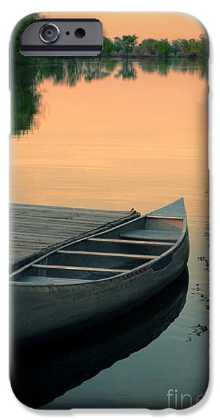 Canoe iPhone Cases - Canoe at a Dock at Sunset iPhone Case by Jill Battaglia