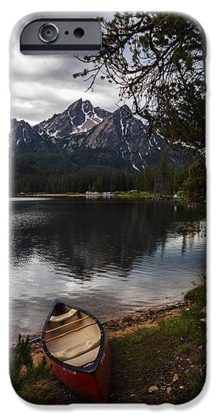 Canoe iPhone Cases - Canoe at Stanley Lake iPhone Case by Vishwanath Bhat