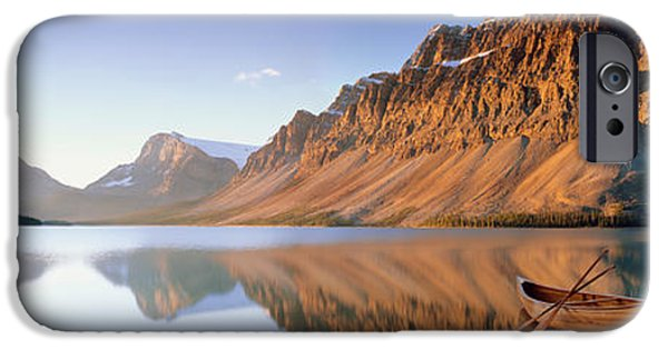 Canoe iPhone Cases - Canoe At The Lakeside, Bow Lake, Banff iPhone Case by Panoramic Images