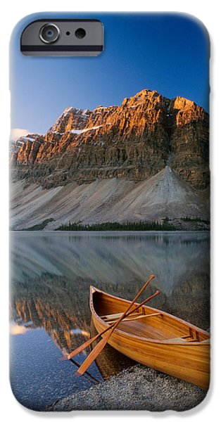 Canoe iPhone Cases - Canoe At The Lakeside, Bow Lake iPhone Case by Panoramic Images