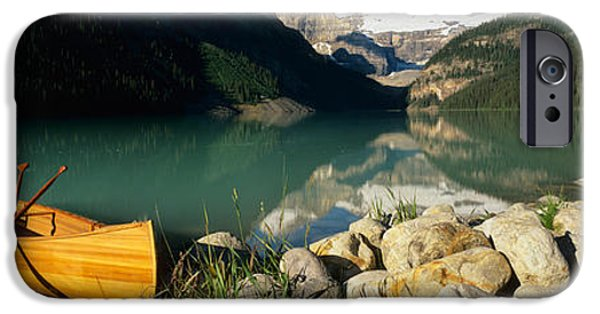 Physical iPhone Cases - Canoe At The Lakeside, Lake Louise iPhone Case by Panoramic Images
