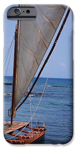Canoe iPhone Cases - Canoe In The Sea, Honolulu, Puuhonua O iPhone Case by Panoramic Images