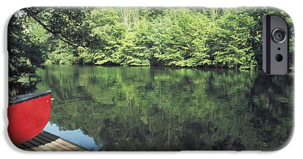 Green Canoe iPhone Cases - Canoe On A Boardwalk In A River, Neckar iPhone Case by Panoramic Images