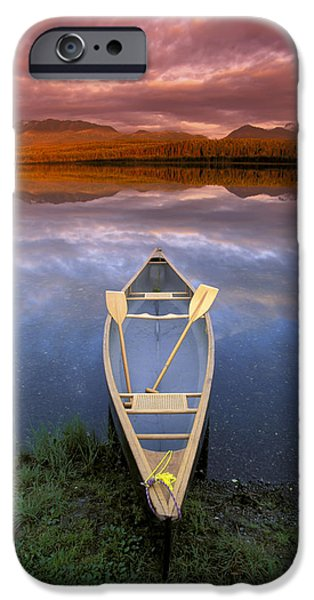 Canoe iPhone Cases - Canoe On Otter Lake Evening Light iPhone Case by Michael DeYoung