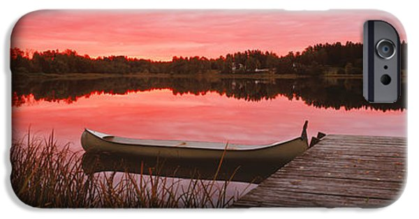 Canoe iPhone Cases - Canoe Tied To Dock On A Small Lake iPhone Case by Panoramic Images