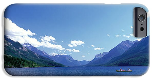 Canoeing iPhone Cases - Canoeing Waterton Lake Waterton Glacier iPhone Case by Panoramic Images