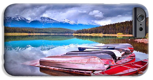 Canoe iPhone Cases - Canoes at Lake Patricia iPhone Case by Tara Turner