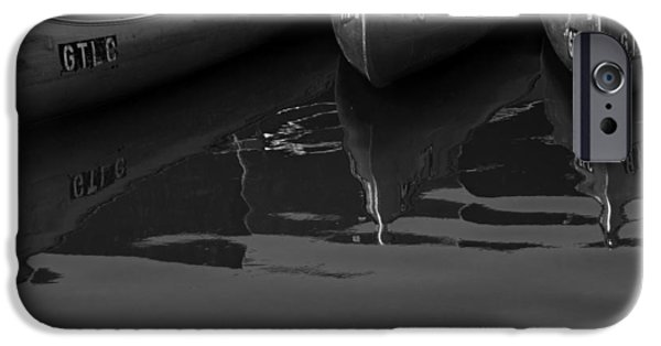 Canoe iPhone Cases - Canoes at Lewis Lake in Yellowstone National Park a Black and White Photograph iPhone Case by Randall Nyhof