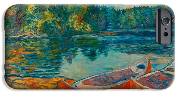 Dirty iPhone Cases - Canoes at Mountain Lake iPhone Case by Kendall Kessler