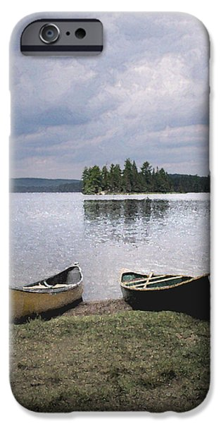 Canoe iPhone Cases - Canoes - Canisbay Lake iPhone Case by Richard Andrews