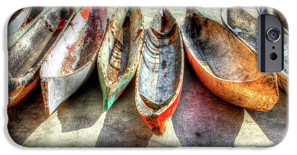Water Photographs iPhone Cases - Canoes iPhone Case by Debra and Dave Vanderlaan