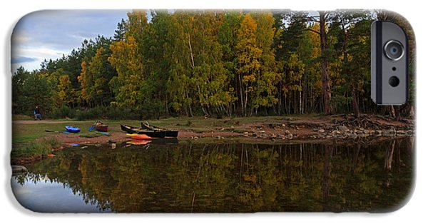 Canoe iPhone Cases - Canoes on the Shore at Loch An Eilein iPhone Case by Louise Heusinkveld