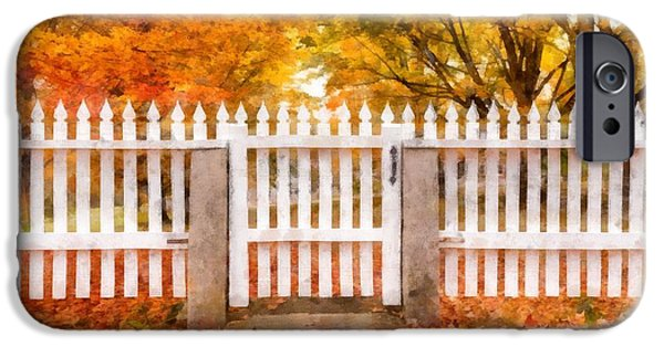 Fall Foliage iPhone Cases - Canterbury Shaker Village Picket Fence  iPhone Case by Edward Fielding
