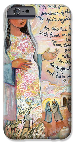 Painted Paintings iPhone Cases - Canticle of Mary iPhone Case by Jen Norton