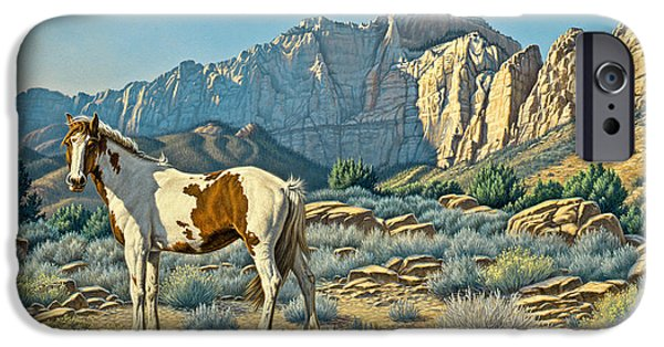Paint Horse iPhone Cases - Canyon Country Paints iPhone Case by Paul Krapf