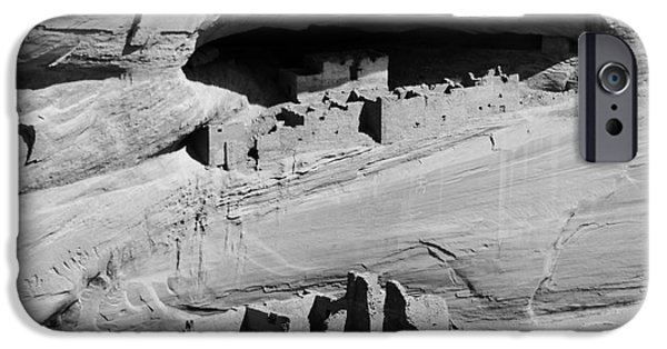 Arizona iPhone Cases - Canyon de Chelly Anasazi White House Ruin Arizona Square Format Black and White iPhone Case by Shawn O