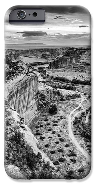 White House iPhone Cases - Canyon de Chelly Navajo Nation Chinle Arizona Black and White iPhone Case by Silvio Ligutti