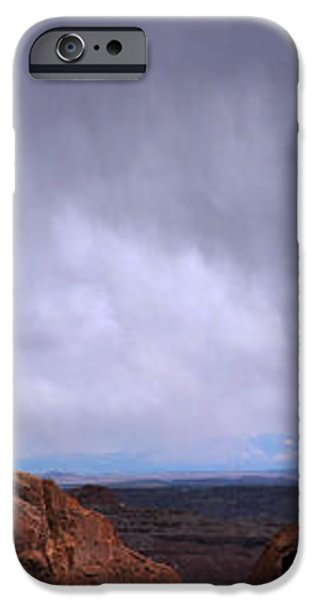 Canyon Entrance Distant Storm iPhone Case by Maria Arango