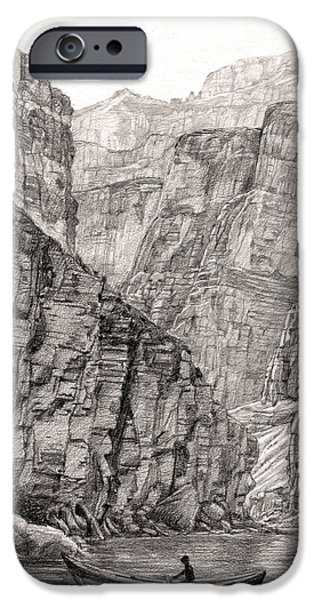 Grand Canyon Drawings iPhone Cases - Canyon Faces iPhone Case by Lisa Fusco
