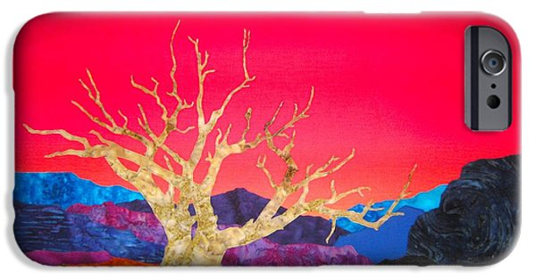 Grand Canyon Tapestries - Textiles iPhone Cases - Canyon Sunrise with Juniper Snag iPhone Case by Deb  Goepfrich
