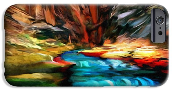 Grand Canyon iPhone Cases - Canyon Waterfall Impressions iPhone Case by  Bob and Nadine Johnston