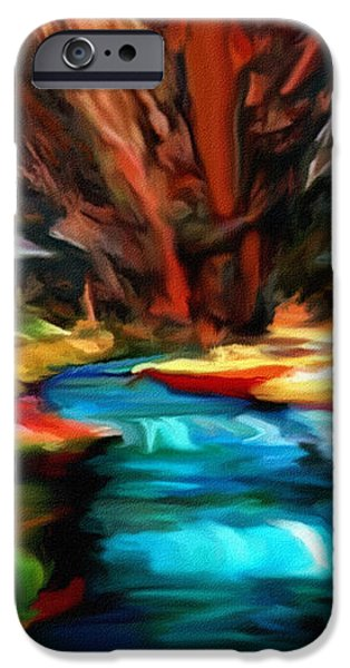 Canyon Waterfall Impressions iPhone Case by  Bob and Nadine Johnston