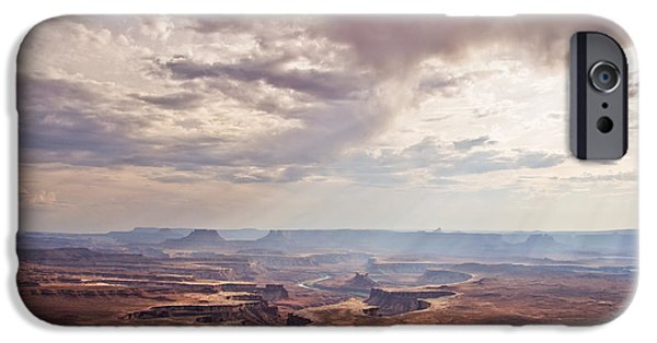 Dark Skies iPhone Cases - Canyonlands panorama iPhone Case by Delphimages Photo Creations
