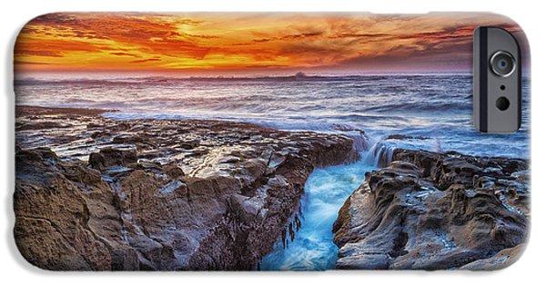 Ocean Sunset iPhone Cases - Cape Arago Crevasse HDR iPhone Case by Robert Bynum