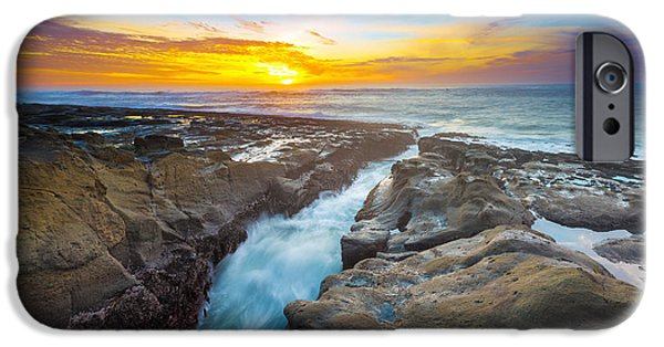 Headland iPhone Cases - Cape Arago Crevasse I iPhone Case by Robert Bynum