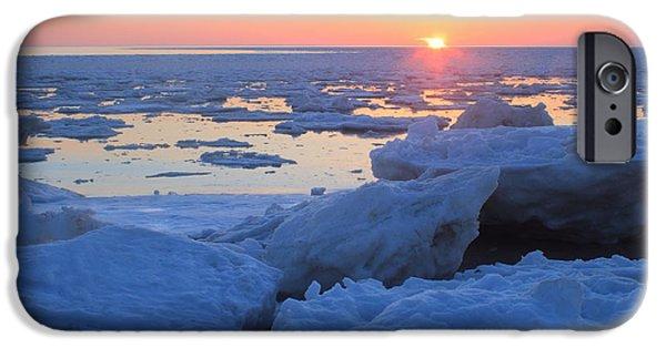 Massachusetts Coast iPhone Cases - Cape Cod Bay Ice Sunset iPhone Case by John Burk