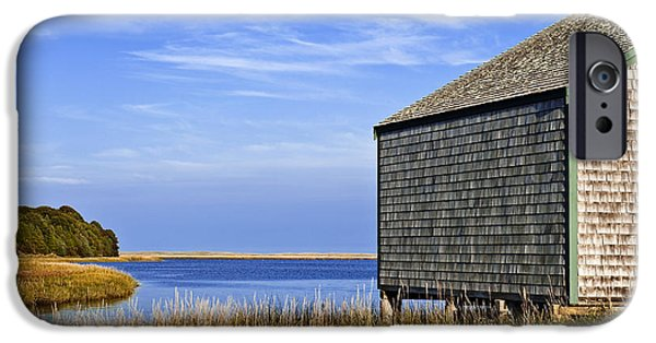 Salt Marsh. New England iPhone Cases - Cape Cod Boathouse iPhone Case by John Greim