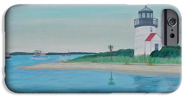 Chatham Paintings iPhone Cases - Cape Cod Chatham Lighthouse iPhone Case by Sally Rice