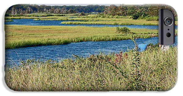 Salt Marsh. New England iPhone Cases - Cape Cod Fisherman iPhone Case by Jean Hall