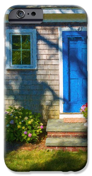 Porch iPhone Cases - Cape Cod House iPhone Case by Diane Diederich