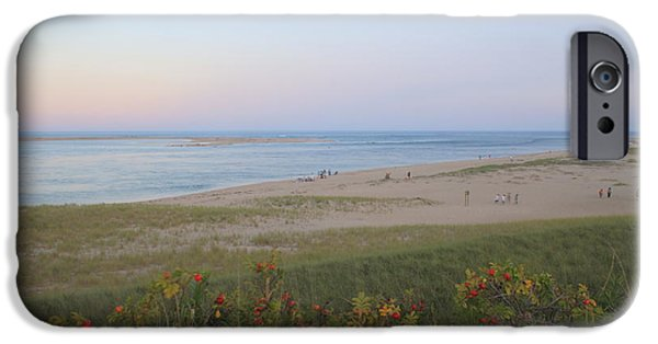 Chatham iPhone Cases - Cape Cod Lighthouse Beach Evening Light and Moon iPhone Case by John Burk