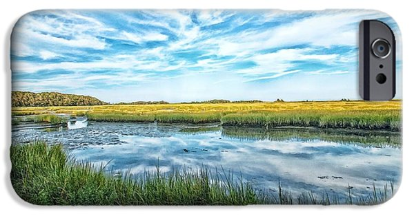 Salt Marsh. New England iPhone Cases - Cape Cod Salt Marsh At Low Tide iPhone Case by Constantine Gregory