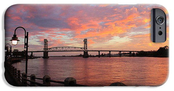Night Lamp iPhone Cases - Cape Fear Bridge iPhone Case by Cynthia Guinn