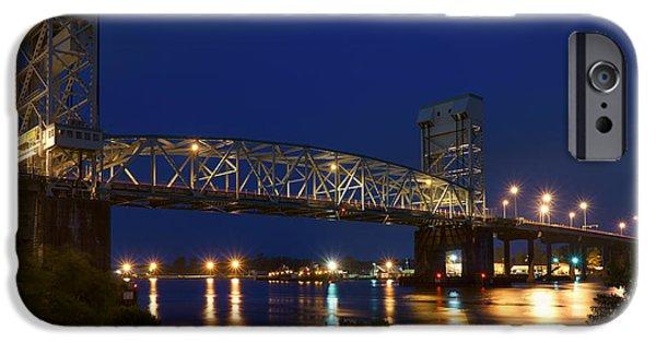 Evening Scenes iPhone Cases - Cape Fear Memorial Bridge 2 - North Carolina iPhone Case by Mike McGlothlen