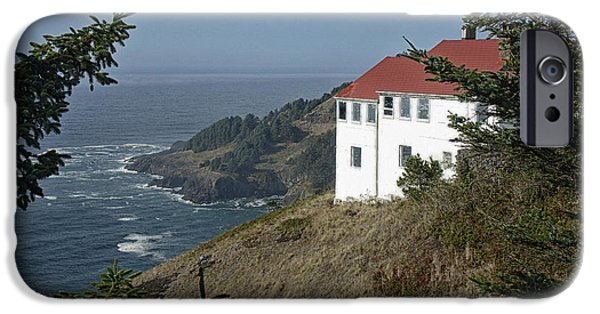 Agate Beach Oregon iPhone Cases - Cape Foulweather Lookout iPhone Case by Betty Depee