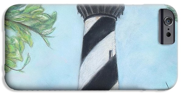 Lighthouse Pastels iPhone Cases - Cape Hatteras Light iPhone Case by Cathy Lindsey