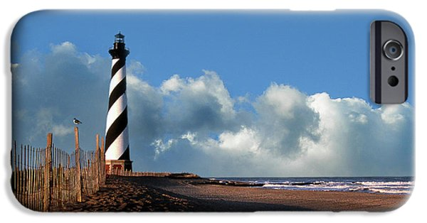 Clouds iPhone Cases - Cape Hatteras Light iPhone Case by Skip Willits