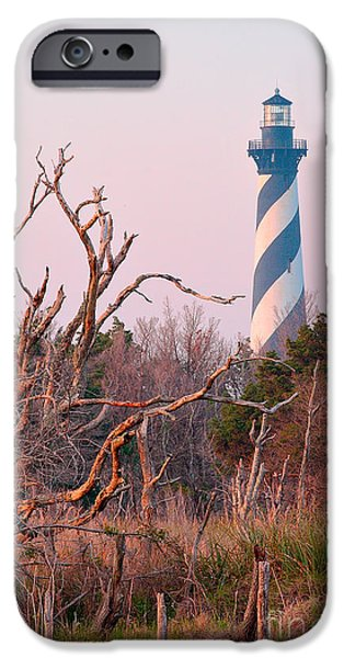 Safety Pyrography iPhone Cases - Cape Hatteras Lighthouse and Trees iPhone Case by Dan Waters